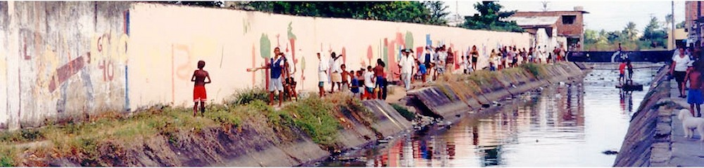 Graffiti campaign over heavy water pollution in the city's canals, Racife, Brazil